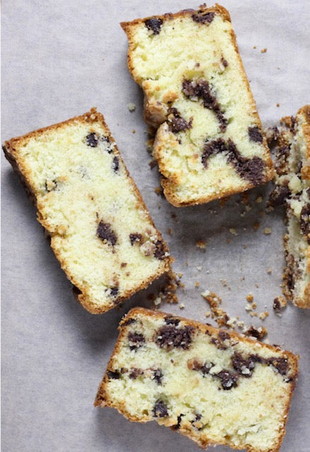 Chocolate Chip Pound Cake with Vanilla Glaze