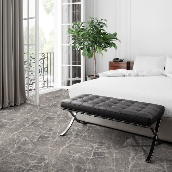marble arch area rug bedroom in colour charcoal
