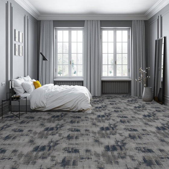regent area rug in room in colour silver mine