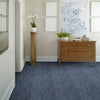 tempo area rug in room view in colour midnight blue