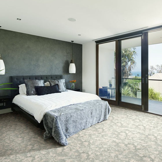 vibes area rug bedroom in colour platinum