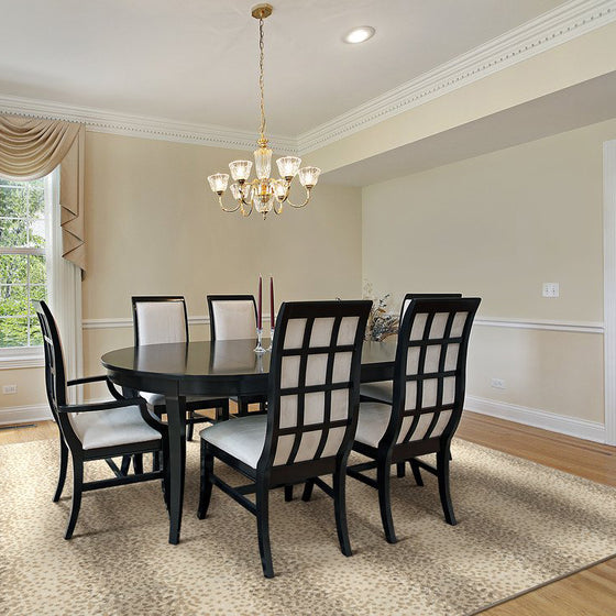 chapelle area rug in dining room in colour wheat