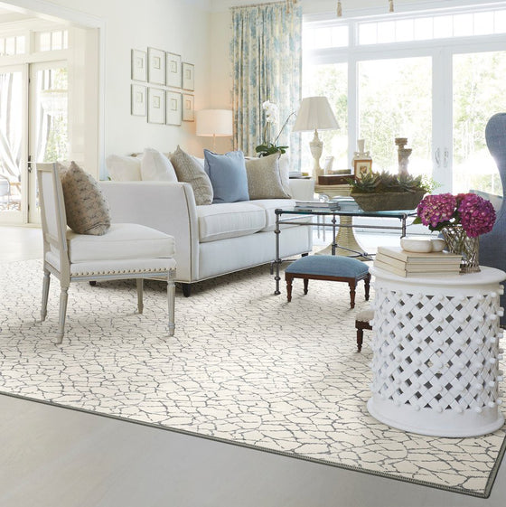 fairwater area rug in living room in colour ivory