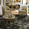 Olympia area rug in living room in colour ebony