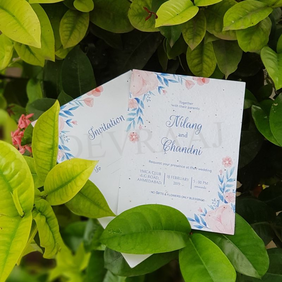 Devraaj Plantable wedding invitation with various types of seed paper with multicolour printing and envelopes