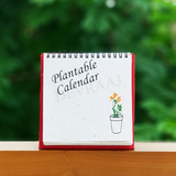 Devraaj Eco-friendly Plantable seed paper Desk calendar with stand and wiro binding in red colour and plantable calendar