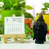 Devraaj Eco-friendly Plantable seed paper table top desktop calendar with wooden stand with different plantable seed papers