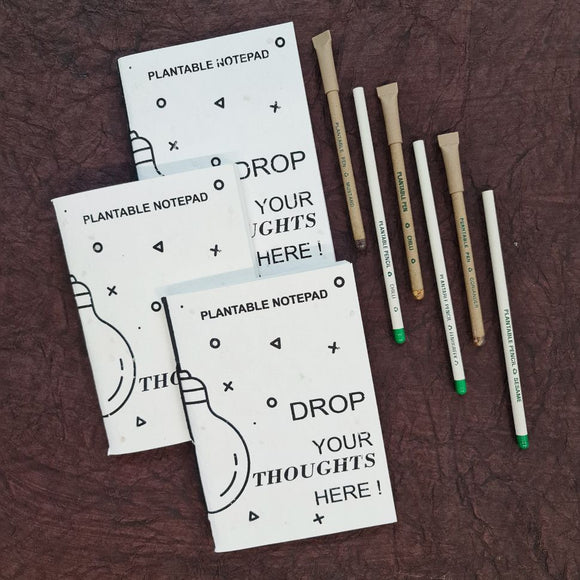 Plantable Notepads with Plantable Pen & Plantable Pencils in set of 3 nos.