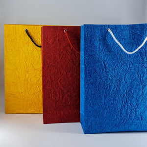 Eco-friendly Wrinkle Textured Handmade Paper Vertical Bags (Mix Colour)
