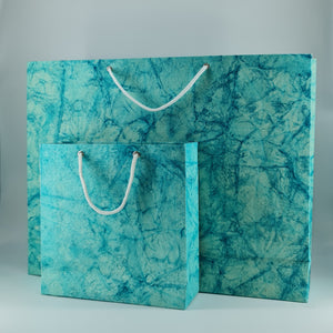 Eco-friendly Batik Textured Handmade Paper Bags Set of Two Size Bags ( 5 sets )