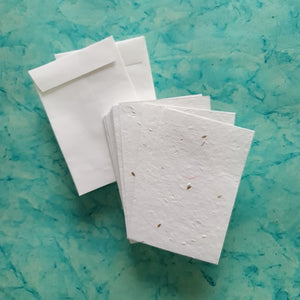 Plantable carrot seed paper in white colour with handmade paper envelope