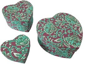 Heart shape Eco-Friendly handmade paper gift box in set of 3 boxes