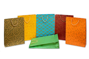 Eco-Friendly handmade paper vertical bags for wedding festival birthday shopping in mix colours with golden prints
