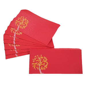 Eco-friendly handmade paper envelopes in red colour for shagun and wedding and birthday gifts with tree design print