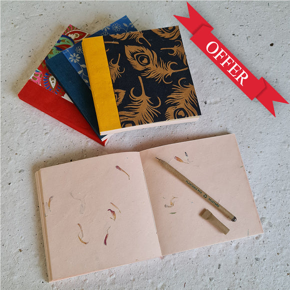 Square shape handmade paper notepad and handmade paper diary with plantable pen and plantable pencil