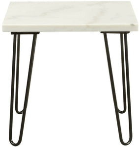 Marble And Black End Table - House Of Racha
