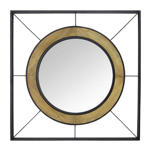 Black Natural Wood & Metal Mirror
