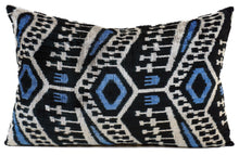 Load image into Gallery viewer, EBONY - IKAT SILK + VELVET - LUMBAR PILLOW