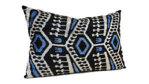 EBONY - IKAT SILK + VELVET - LUMBAR PILLOW