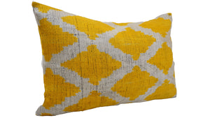 CORN FLOWER - IKAT SILK/VELVET - LUMBAR PILLOW