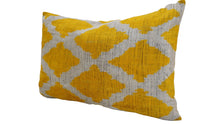 Load image into Gallery viewer, CORN FLOWER - IKAT SILK/VELVET - LUMBAR PILLOW