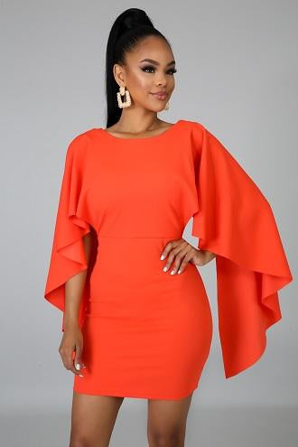 Orange Modern Elegance Fitted Dress - House Of Racha