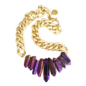 Rocked Up Crystal Quartz Necklace - Purple