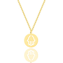 Load image into Gallery viewer, Minimalist Round Circle Hand Of Hamsa Necklace