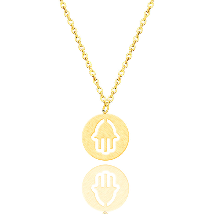 Minimalist Round Circle Hand Of Hamsa Necklace
