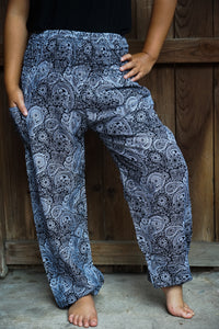 Black Paisley Women Boho Pants Yoga - House Of Racha