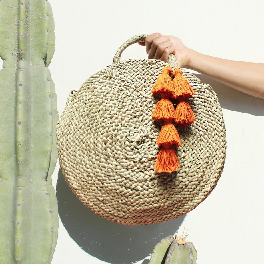 Brunna Luna Bag - Round Straw Tote Bag with Pumpkin Orange Tassels - House Of Racha