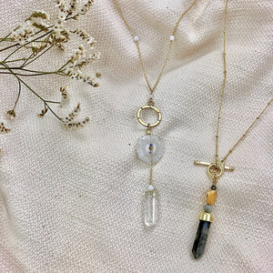 Solar Quartz - Crystal Y Necklace