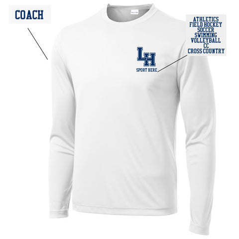LH Coaches Long Sleeve White Performance Shirt