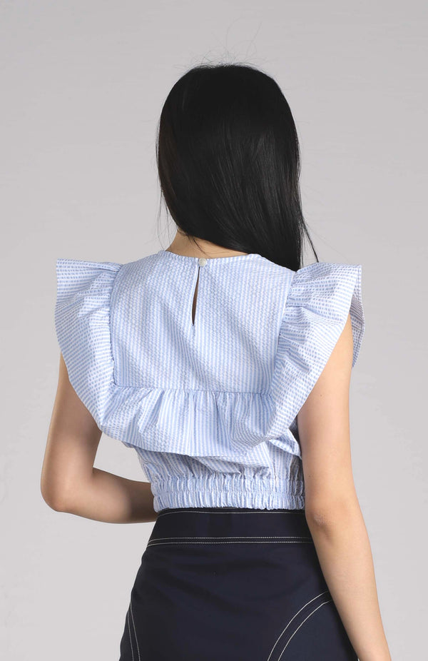 Ashley Ruffle Top - Light Blue