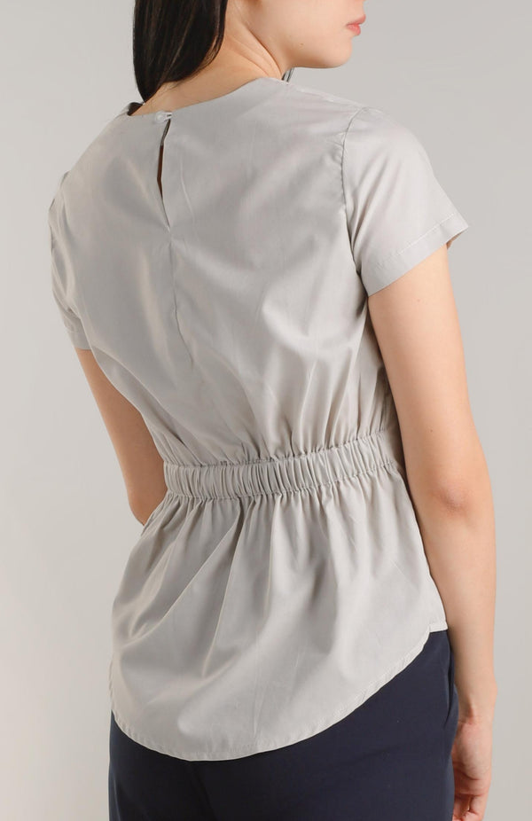 Annisa Elastic Back Top - Grey