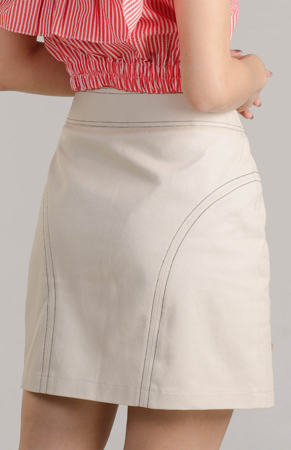 Ava Contrasting Buttons Skirt - Cream