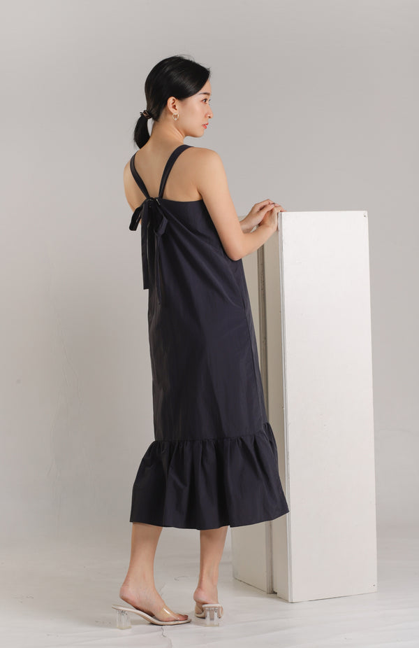 Andrea Tie Back Midaxi Dress - Navy