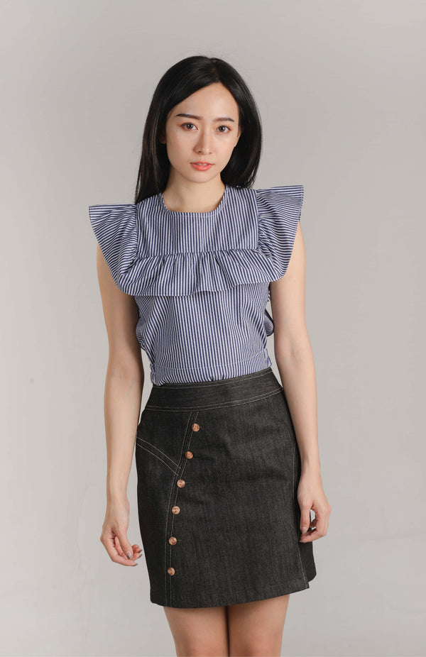 Ashley Ruffle Top - Navy