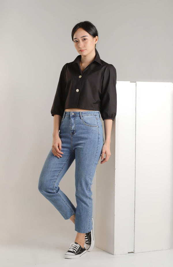 Allison Collared Top - Black