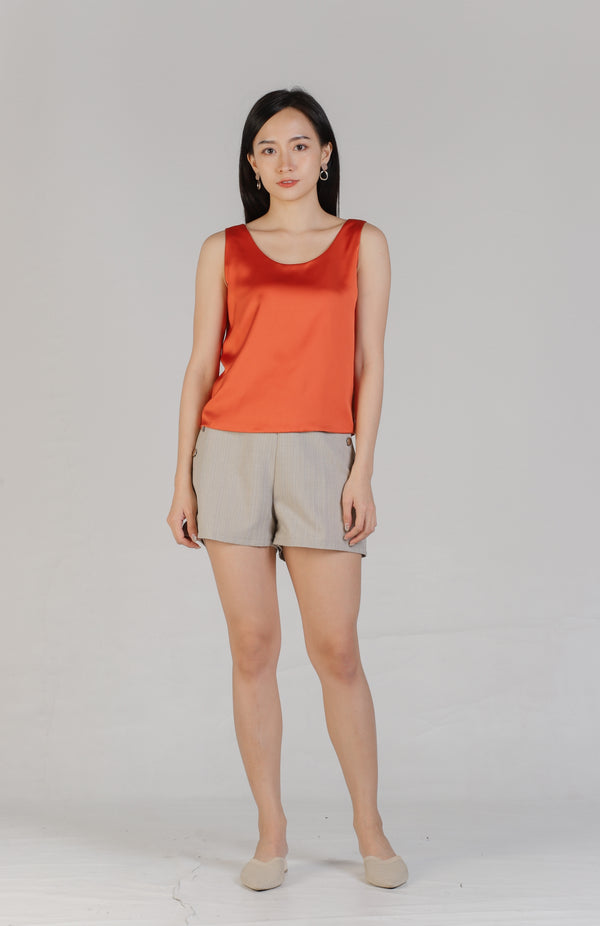 Maisy Scoop Neck Sleeveless Top - Orange