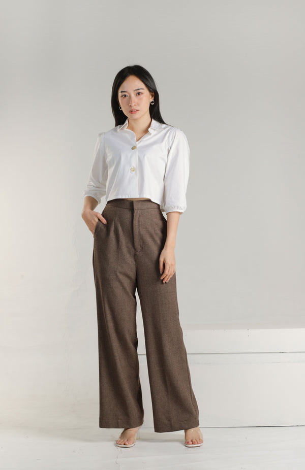 Alaina Flare Pants - Brown Checks