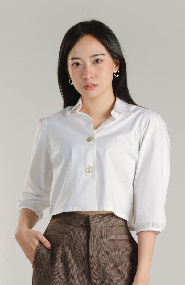 Allison Collared Top - Ivory