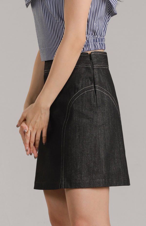 Ava Contrasting Buttons Skirt - Denim