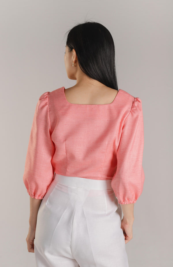 Avery Square Neck Top - Coral