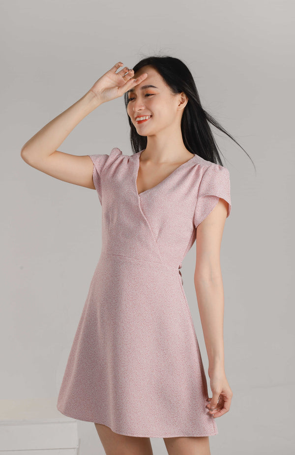 Alisa Faux Wrapped Dress - Pink