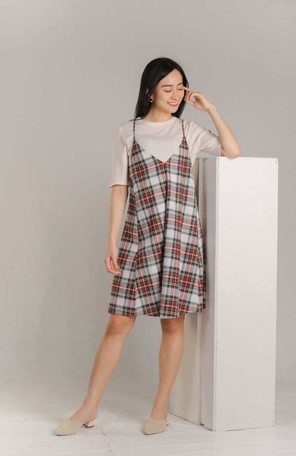Adina Relaxed Summer Dress - Multi-colour Checks