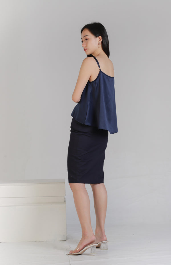 Myla Square Neck Top - Navy