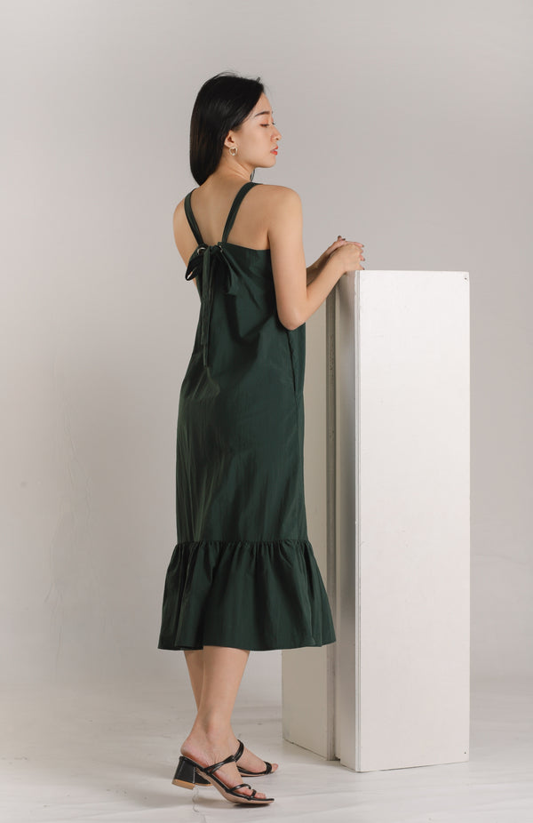 Andrea Tie Back Midaxi Dress - Emerald