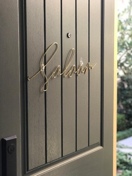 Salaam Metal Welded Sign - Gold/Silver
