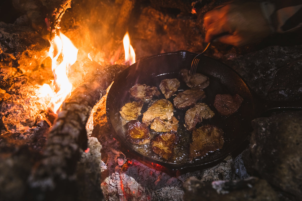 Elk Tenderloins Over The Fire